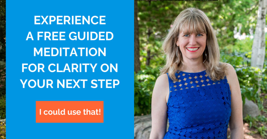 Experience a free guided meditation for clarity on your next step. Click to download.